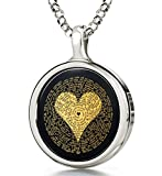 925 Sterling Silver I Love You Necklace Inscribed in 120 Languages in 24k Gold on Round Onyx Pendant, 18''