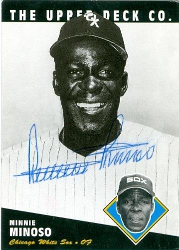 (Minnie Minoso autographed baseball card (Chicago White Sox) 1994 Upper Deck Heroes of Baseball #205 - Autographed Baseball Cards)