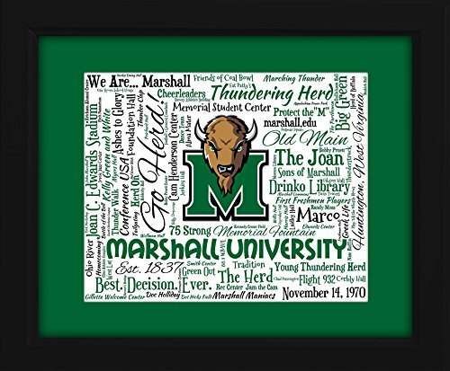 Marshall University 16x20 Art Piece - Beautifully matted and framed behind -