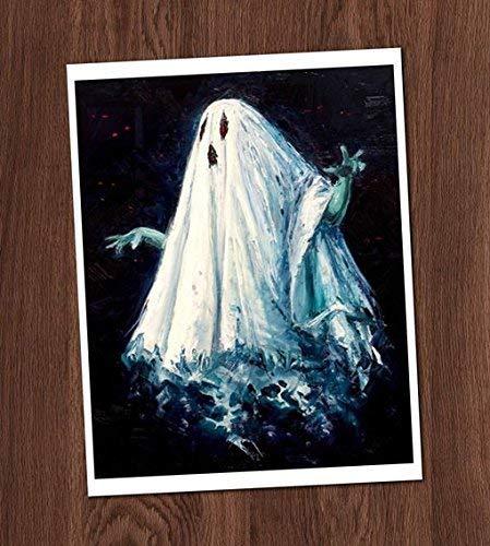 Creepy Ghost Color Painting Vintage Art Print 8x10 Wall Art Spirit Haunting Halloween Decor]()