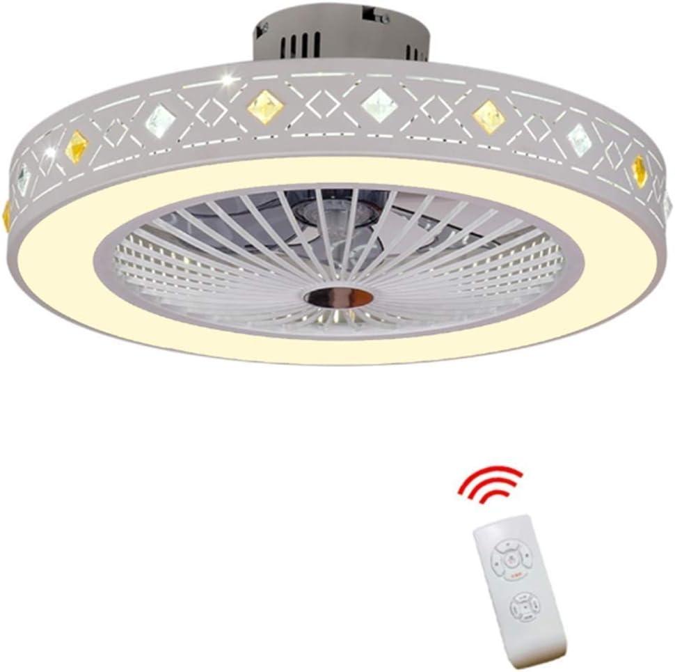 XYJGWXDD Ventilador de Techo Moderno for Sala de Estar Dormitorio con Kit de luz LED y Control Remoto Invisible Ventilador de Techo, Regulable en Tres Colores (56 cm)