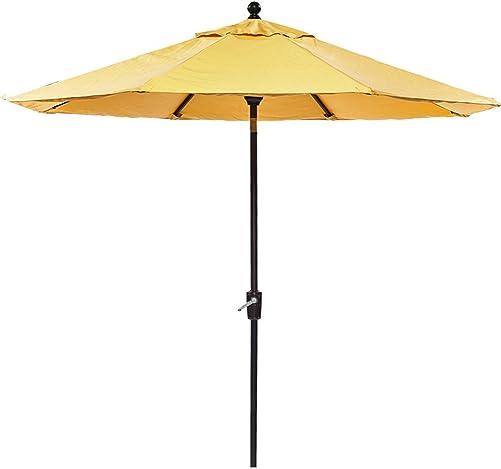 dali Patio Umbrella, 9 Ft Aluminum Patio Market Outdoor Table Umbrella Auto Tilt Crank, Yellow