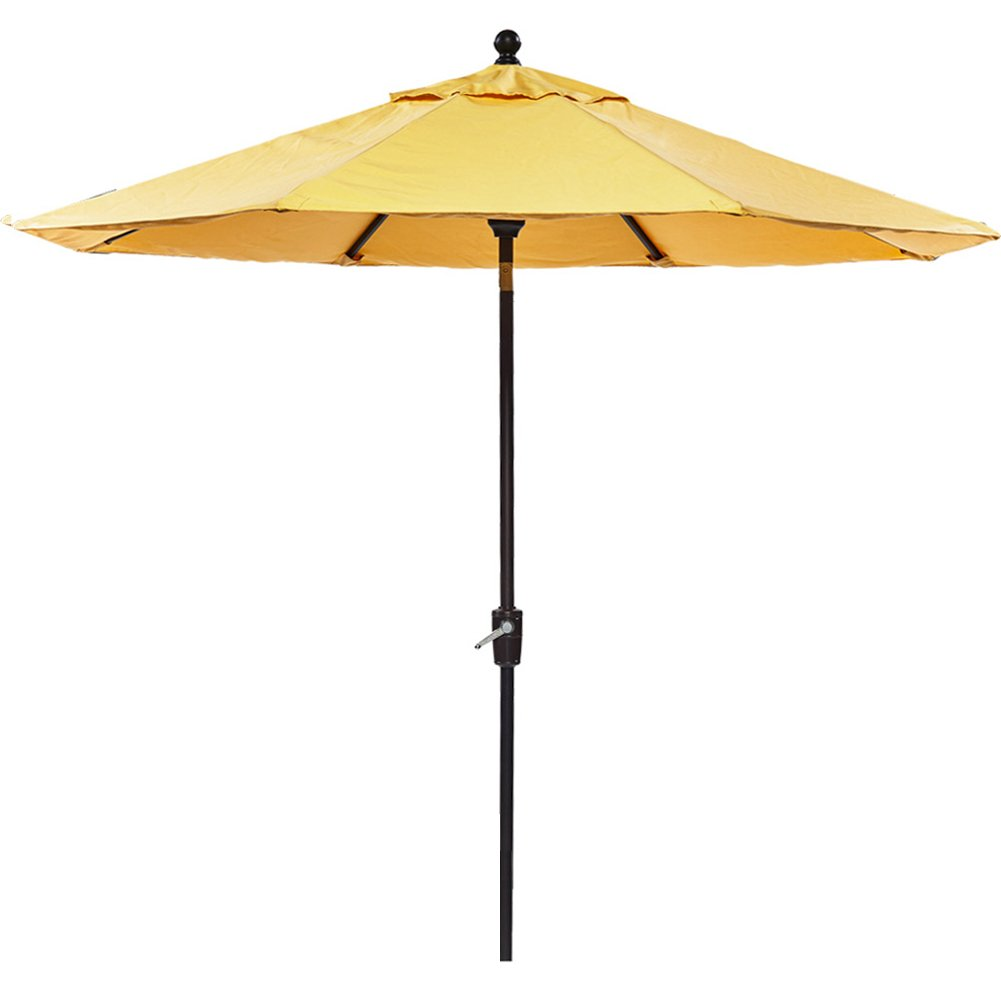 dali Patio Umbrella, 9 Ft Aluminum Patio Market Outdoor Table Umbrella Auto Tilt Crank, Yellow