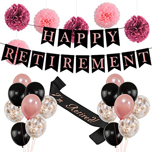 Retirement Party Decorations for Women| Rose Gold HAPPY RETIREMENT Banner Bunting, Im Retired Sash,Tissue Paper Cute Pom Poms,Black and Rose Gold Balloons Retirement Decoration Supplies |Ideal Retire