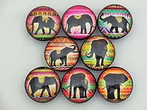 Set of 8 Elephant Tribal Cabinet Knobs