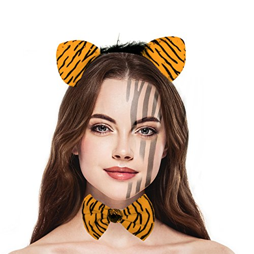 Adult Tiger Halloween Costumes (Lux Accessories Halloween Tiger Orange and Black Stripe Costume Set (3PCS))