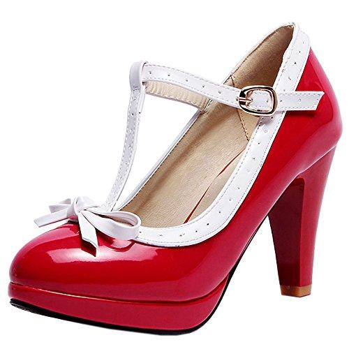 Sandales Ete Red Aiguille Bout Pointure Femme Escarpins Grande Bride Elegant TAOFFEN Cheville Talon Ferme nxqIOTw8g