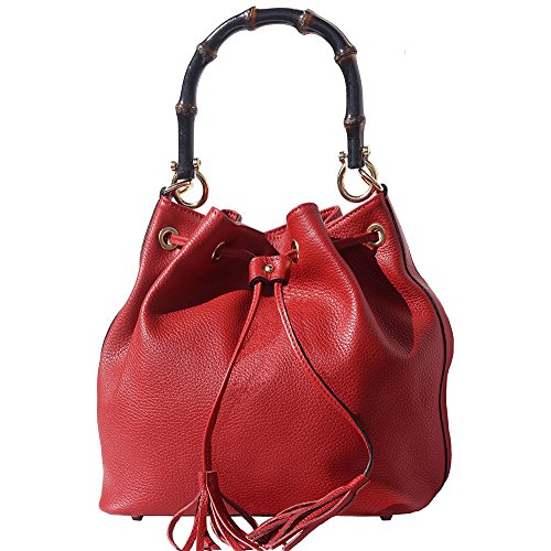 Cube Bag In Genuine Leather And Red Bamboo Handle 9135