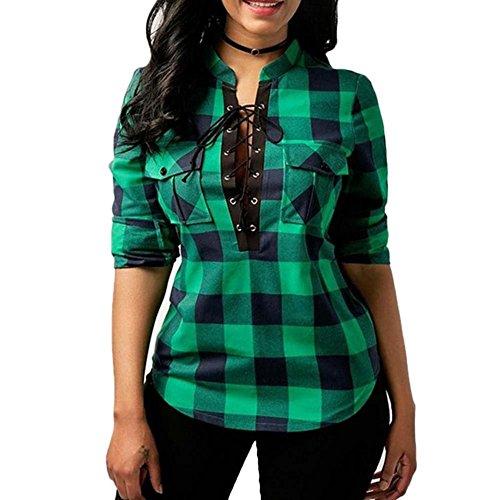 Manche Chemisier Femme Blouse Shirt Longue Chemise Carreaux Tops Vert qH6Hw5Y
