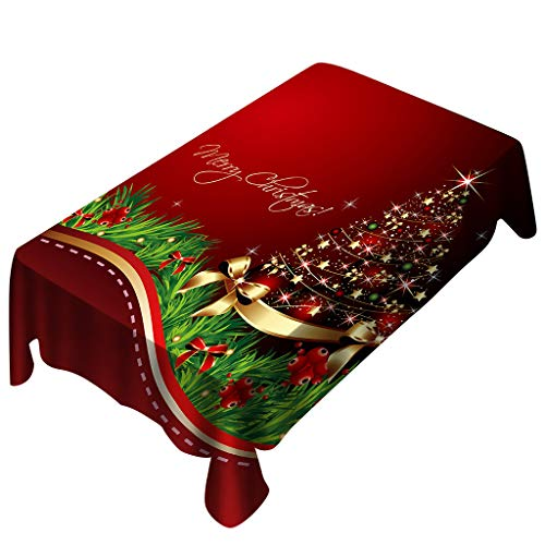 Digood Xmas Tree Printed Table Cloth, Washable Polyester Oblong Tablecloth Dinner Picnic Red Table Cloths Home Party Decoration Assorted Size (59x70 Inch)