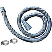 10 ft Washing Machine Discharge Hose, Right Angle, Universal Fit Drain Hose with 90 degree Elbow, Heavy-Duty Water Support, Flexible, Corrugated Design, Include 2 Steel Clamps