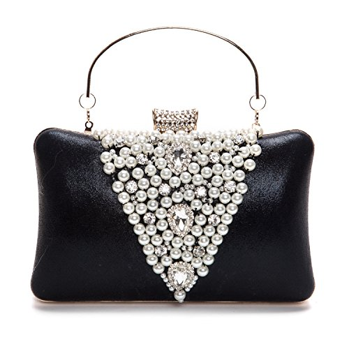 - UBORSE Elegant Rhinestones Hard Handbag Clutch Pearl Evening Bags Purse with Zip Compartments Black