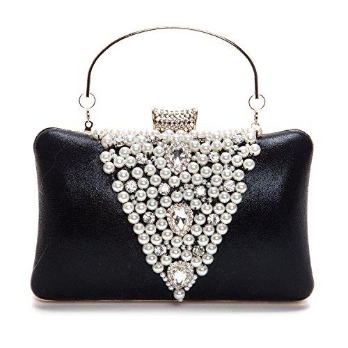 UBORSE Elegant Rhinestones Hard Handbag Clutch Pearl Evening Bags Purse with Zip Compartments Black ()