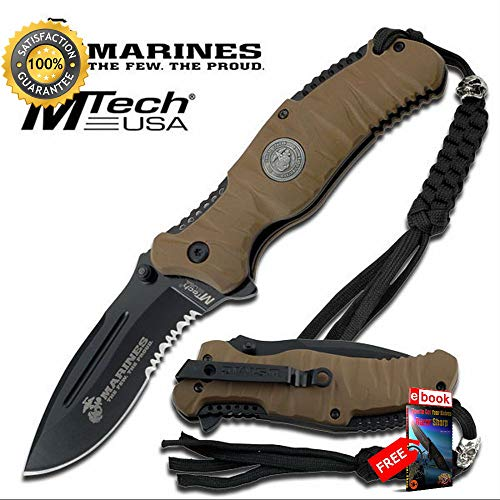 Official USMC 5'' Tan Heavy Duty Folding Sharp KNIFE Rubberized ABS Handle Combat Tactical Knife + eBOOK by Moon Knives