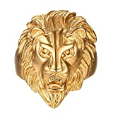 gold lion head ring - FANSING Mens Rings, Stainless Steel Gold Lion Head Ring, Size 12