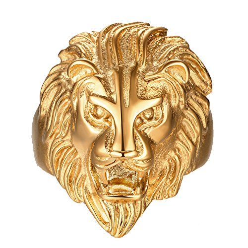 FANSING Costume Jewelry Fathers Day Gift Stainless Steel Gold Lion Head Rings Celtic Animal Rings for Mens Size (Lion Head Ladies Ring)