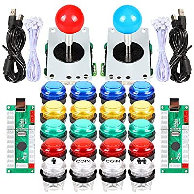 Fosiya 2 Player LED Arcade Joystick Buttons Kit for Arcade PC Game Controllers Mame Raspberry Pi Retro Controller