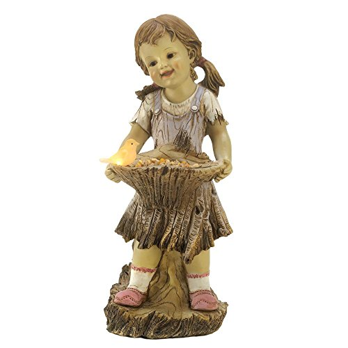 Sweet Summertime Girl Bird Solar Light Garden Statue