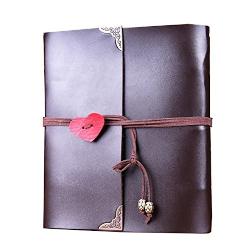 Scrapbook Album,MAMACHU Vintage Photo Album Leather Family DIY Memory Retro Photo Book Guestbook for Anniversary Mother Birthday Valentine Wedding Travel Graduation Presents for Women Mom Child by MAMACHU