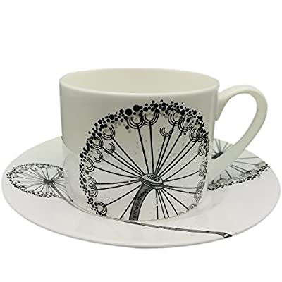 Yosou Home Ceramic Unique Dandelion Picture Design 8 oz. Coffee Mug and Saucer 2 pc Set&Tea Cup in Gift Box -for Coffee Tea Milk-Gifts-White