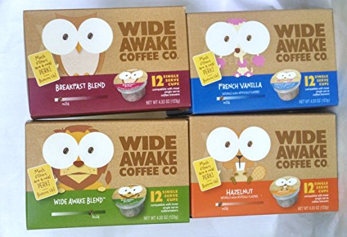 Wide Awake Coffee, 12 K-cups, Variety Pack (Pack of 4)