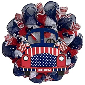 Patriotic Cruising America Wreath Deco Mesh 10