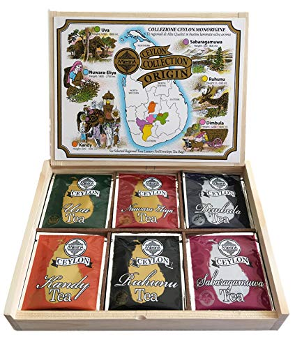 Ceylon Selected Six Regional Black Tea Collection in Pine Wood Gift Box - Ozone Friendly Tea 30 Total Foil Envelop Tea Bags Enjoy Hot Tea or Iced Tea ()