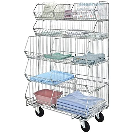Quantum Storage Systems Mobile Modular Wire Stacking Baskets 60 High X 36 Wide X 20 Deep