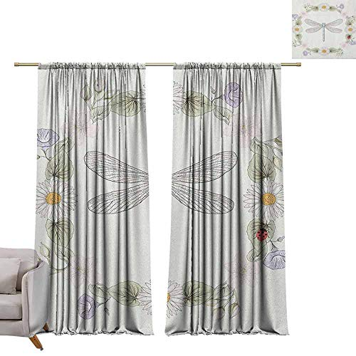 (berrly Grommet Blackout Curtains Dragonfly,Vintage Retro Farm Life Inspired Moth with Daisies Lilies Leaves Image, Lilac Green W96 x L108 Art Drapery)