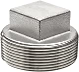 Stainless Steel 304 Cast Pipe Fitting, Square Head Cored Plug, MSS SP-114, 2-1/2'' NPT Male