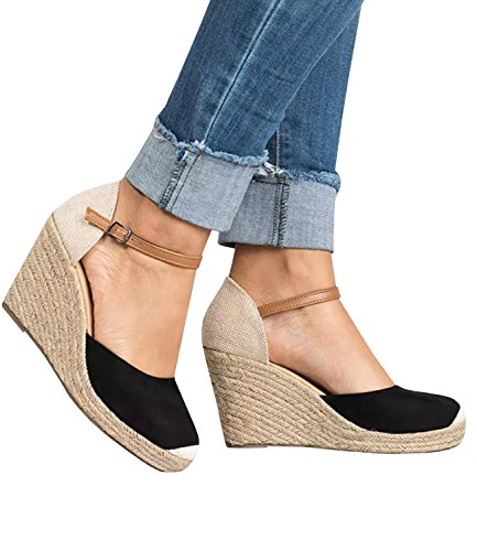 Pxmoda Womens Summer Espadrille Wedge Sandals Fashion Strap Buckle Suede Platform Shoes (6.5 B(M) US - EU Size 37, Black)