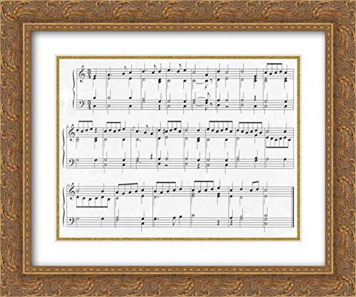 (Veit Langenbucher - 36x28 Gold Ornate Frame and Double Matted Museum Art Print - Musical Clock with Spinet and Organ)