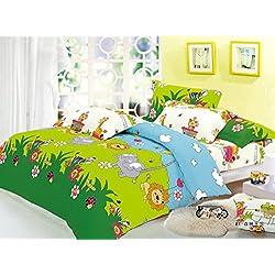 Cliab Elephant, Lion, Monkey, Giraffe, Zebra with Little Train Animal Theme Bedding Queen(Size Optional) Sheets Jungle Duvet Cover Set 100% Cotton 7 Pieces(Size Optional)