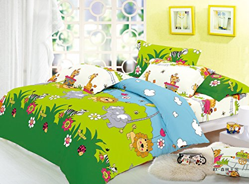 Cliab Elephant, Lion, Monkey, Giraffe, Zebra with Little Train Animal Theme Bedding Queen(Size Optional) Sheets Jungle Duvet Cover Set 100% Cotton 7 Pieces(Size Optional)