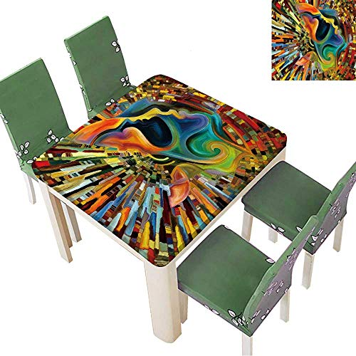 Printsonne Tablecloth Waterproof Polyester Colors of The Mind Series Creative Arrangement of Elements of Human face for Wedding/Party 52 x 52 Inch (Elastic Edge)
