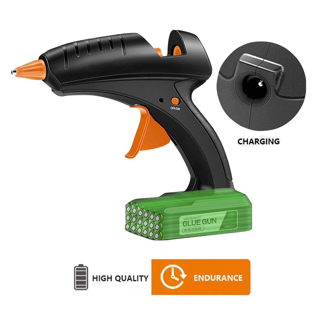 Full Size Hot Glue Gun Cordless 60W 12V Rechargeable Electric Heating Tool with lithium Battery 2000mAh for DIY Arts Craft 0.43''(11mm) Glue Sticks with US Plug Charger by Sackful