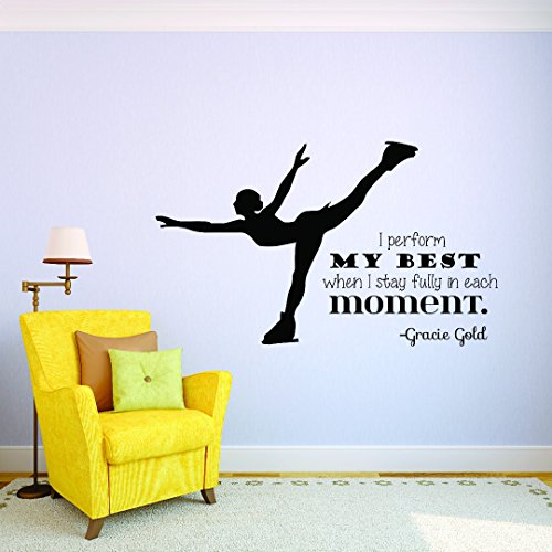 (Design with Vinyl JER 300 1 Figure Ice Skating I Perform My Best When I Stay Fully in Each Moment Gracie Gold Quote Silhouette Vinyl Wall Decal Sticker, 10