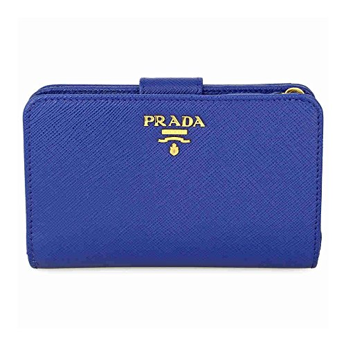 Prada Bi-fold Zip Saffiano Leather Wallet - Bluette