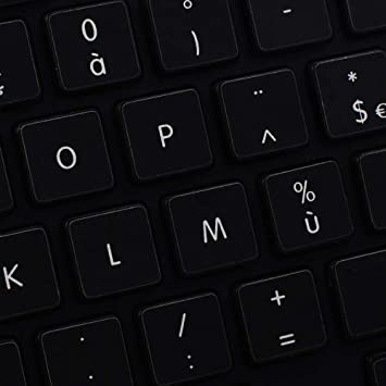 UPPER AND LOWER LETTERS DESKTOP AND NOTEBOOK NON-TRANSPARENT KEYBOARD STICKER ON BLACK BACKGROUND FOR LAPTOP APPLE ENGLISH