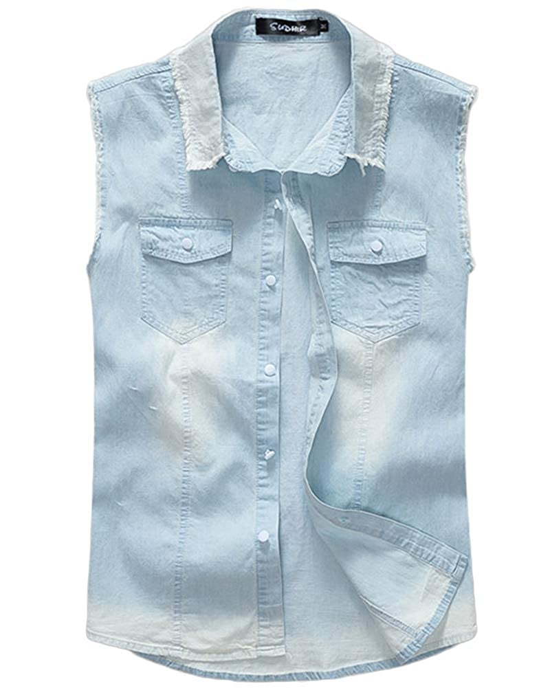 Men Denim Waistcoat Jean Vest Ripped Sleeveless Jacket Boys Gilet Spring Autumn Winter Tops Plus Size