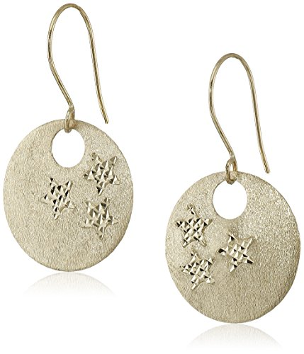 14k Gold Circle Earrings - 14k Yellow Gold Star Engraved Circle Disc Dangle Earrings