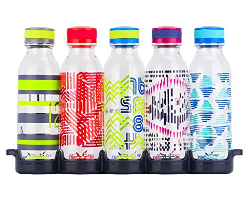 reduce WaterWeek Reusable Water Bottle Set with Fridge Tray - 5 Flask Pack, 20oz - BPA Free, Leak-Proof Twist Off Cap - Clear Bottles with Colored Patterns - Reduce Plastic Use, Increase H2O Intake -