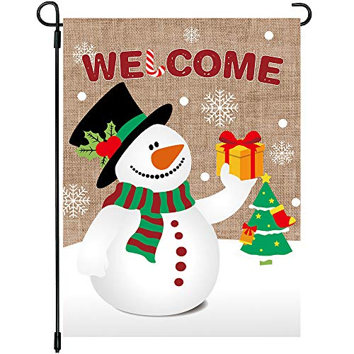 MIDOLO Christmas Burlap Welcome Garden House Flags with Snowman for Merry Christmas Winter Holiday Decorations, Indoor/Outdoor Yard Flags, Double-Sided, Gift for Kids Children,12 X 18 Inch