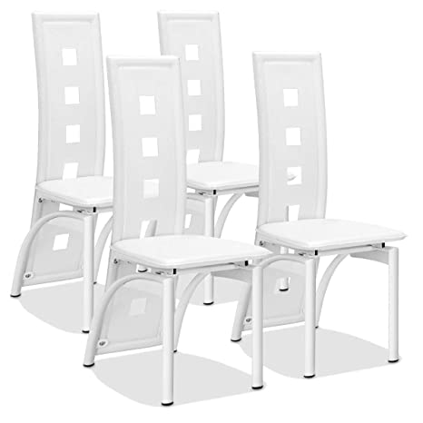 Swell Giantex Set Of 4 Dining Chairs Heavy Duty Iron Frame Ergonomic Curved Backrest Food Pads For Home Kitchen Restaurant White Creativecarmelina Interior Chair Design Creativecarmelinacom