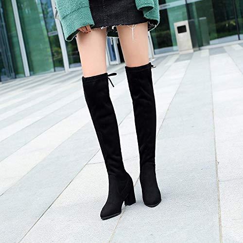 Shukun Stiefeletten Stiefel dick mit mit mit Herbst und Winter über den Knie Stiefel Ofenrohr Stretch Stiefel hochhackige Stiefel Frauen Dicke Stiefel 75116c