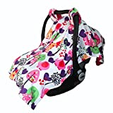 Baby Reversible Minky Velboa Carseat Carrier Cover (Choose Color) (Safari / Hot Pink)