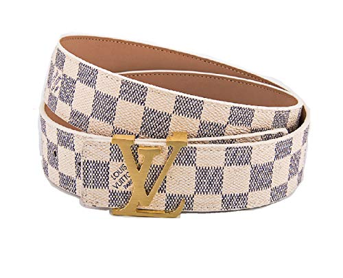 Fashion Belt Classic White Chess Grid Belt With Gold Buckle 38-40