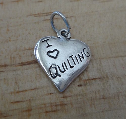 Sterling Silver 15x13mm I Love Quilting Quilt Sew Heart Charm Jewelry Making Supply, Pendant, Charms, Bracelet, DIY Crafting by Wholesale Charms by Wholesale Charms