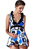 Sweet Mommy Maternity Doodle Circles Swim Wear White L