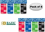 Bazic Top Bound Spiral Memo Books, 3-Inch-by-5-Inch, 50 Sheets Per Book, Total 8 Memo Books